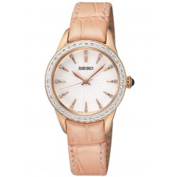 Seiko Ladies Discover More Rose Gold Plated Pink Leather Strap Watch SRZ388P1