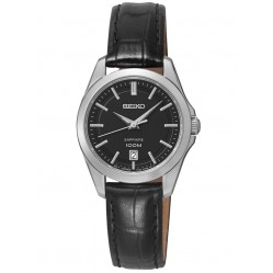 Seiko Ladies Black Leather Strap Watch SXDF57P2