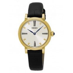 Seiko Discover More Gold Plated Black Leather Strap Watch SFQ814P2
