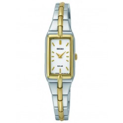 Seiko Discover More Solar Rectangular Two Tone Bracelet Watch SUP272P9