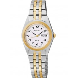 Seiko Ladies Discover More Solar Two Tone Bracelet Watch SUT116P9