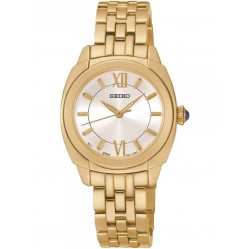 Seiko Discover More Gold Plated Bracelet Watch SRZ428P1