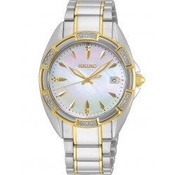 Seiko Ladies Mother Of Pearl Dial Diamond Set Bezel Two Tone Bracelet Watch  SKK880P1