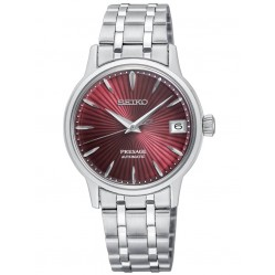Seiko Ladies Presage Automatic Red Date Dial Stainless Steel Bracelet Watch SRP853J1