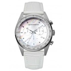 Emporio Armani Mother Of Pearl Chronograph White Strap Watch AR6011