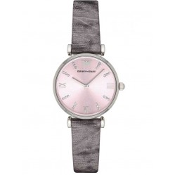 Emporio Armani Ladies Grey Leather Strap Watch AR1882