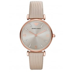 Emporio Armani Ladies Rose Gold Tone Cream Leather Strap Watch AR1681