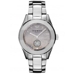 Emporio Armani Ladies Ceramic Round Mother of Pearl Dial Bracelet Watch AR1463