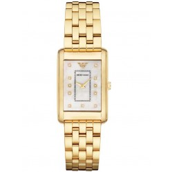 Emporio Armani Ladies Gold Rectangular Watch AR1904