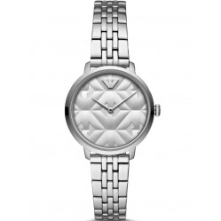 Emporio Armani Ladies Slim Stainless Steel Silver Dial Bracelet Watch AR11213