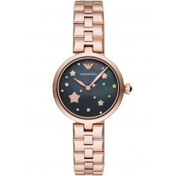 Emporio Armani Ladies Arianna Rose Gold Plated Mother Of Pearl Crystal Star Dial Bracelet Watch AR11197
