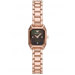 Emporio Armani Ladies Rose Gold Plated Black Mother Of Pearl Octagonal Dial Bracelet Watch AR11247