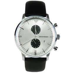 Emporio Armani Mens White and Black Chronograph Watch AR0385
