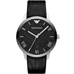 Emporio Armani Gents Stainless Steel Black Dial Black Strap Watch AR1611