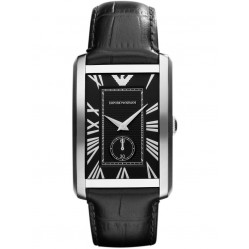 Emporio Armani Gents Stainless Steel Oblong Black Dial Black Strap Watch AR1604