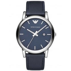 Emporio Armani Gents Stainless Steel Blue Dial Blue Strap Watch AR1731