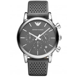 Emporio Armani Mens Grey Strap Watch AR1735