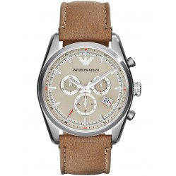 Emporio Armani Stainless Steel Chronograph Brown Strap Watch AR6040