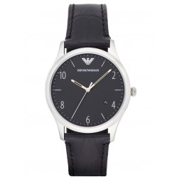 Emporio Armani Mens Black and Stainless Steel Watch AR1865