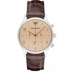 Emporio Armani Mens Leather Strap Watch AR1878