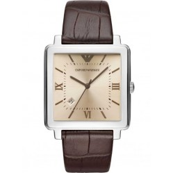 Emporio Armani Mens Leather Strap Watch AR11098