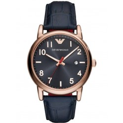 Emporio Armani Mens Luigi Rose Gold Plated Navy Strap Watch AR11135