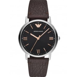 Emporio Armani Black Dial Brown Strap Watch AR11153