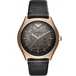 Emporio Armani Mens Rose Gold Automatic Skeleton Black Strap Watch AR60004