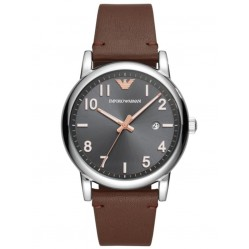 Emporio Armani Mens Grey Dial Brown Leather Strap Watch AR11175