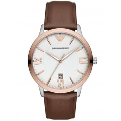 Emporio Armani Mens Giovanni Two Tone White Dial Brown Leather Strap Watch AR11211