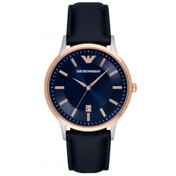Emporio Armani Mens Blue Dial Black Leather Strap Watch AR11188