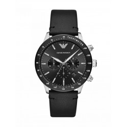 Emporio Armani Ladies Black Chronograph Dial Black Leather Strap Watch AR11243