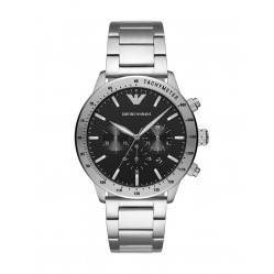 Emporio Armani Mens Black Chronograph Dial Stainless Steel Bracelet Watch AR11241