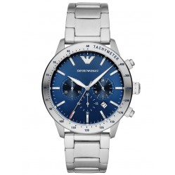 Emporio Armani Mens Blue Chronograph Dial Stainless Steel Bracelet Watch AR11306