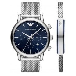 Emporio Armani Mens Stainless Steel Blue Chronograph Dial Mesh Strap Watch and Bracelet Set AR80038