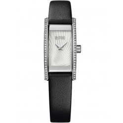 Hugo Boss Ladies Black Rectangular Leather Strap Watch 1502390