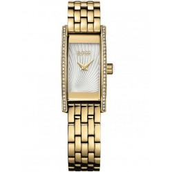 Hugo Boss Ladies Gold Plated Rectangular Bracelet Watch 1502384