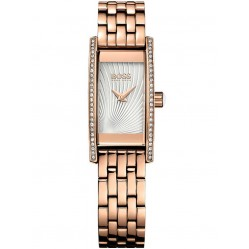 Hugo Boss Ladies Rose Gold Plated Rectangular Bracelet Watch 1502386
