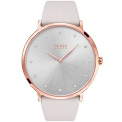 BOSS Ladies Jillian Grey Leather Strap Watch 1502412