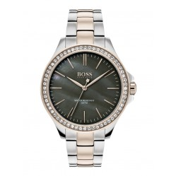 BOSS Ladies Victoria Two Colour Black Mother Of Pearl Stone Set Dial Bracelet Watch 1502452