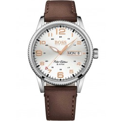 Hugo Boss Mens Pilot Vintage Brown Leather Strap Watch 1513333