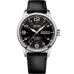 Hugo Boss Mens Pilot Vintage Black Strap Watch 1513330