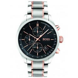 BOSS Mens Grand Prix Chronograph Two Tone Bracelet Watch 1513473
