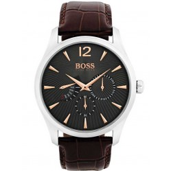 BOSS Mens Commander Brown Leather Strap Watch 1513490