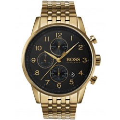 BOSS Mens Navigator Chronograph Gold Bracelet Watch 1513531