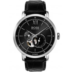 BOSS Mens Signature Automatic Skeleton Black Leather Strap Watch 1513504