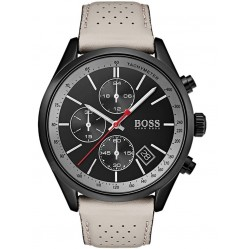 BOSS Mens Grand Prix Chronograph Grey Leather Strap Watch 1513562