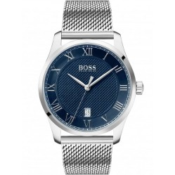 BOSS Mens Master Blue Dial Mesh Strap Watch 1513737