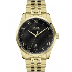 BOSS Mens Master Black Dial Gold Bracelet Watch 1513739