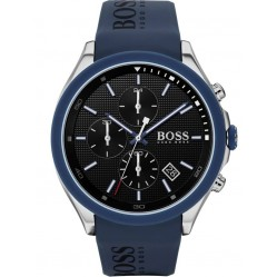BOSS Mens Velocity Black Dial Blue Rubber Strap Watch 1513717